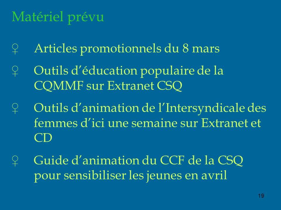 19 Matériel prévu Articles promotionnels du 8 mars Outils déducation populaire de la CQMMF sur Extranet CSQ Outils danimation de lIntersyndicale des femmes dici une semaine sur Extranet et CD Guide danimation du CCF de la CSQ pour sensibiliser les jeunes en avril