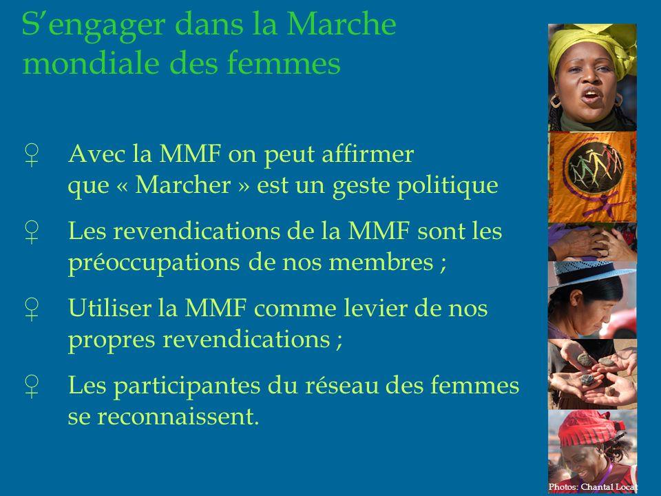 21 Sengager dans la Marche mondiale des femmes Avec la MMF on peut affirmer que « Marcher » est un geste politique Les revendications de la MMF sont les préoccupations de nos membres ; Utiliser la MMF comme levier de nos propres revendications ; Les participantes du réseau des femmes se reconnaissent.