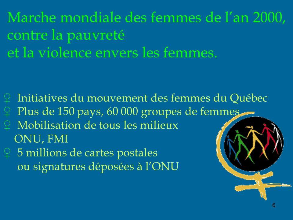 6 Marche mondiale des femmes de lan 2000, contre la pauvreté et la violence envers les femmes. Initiatives du mouvement des femmes du Québec Plus de 1
