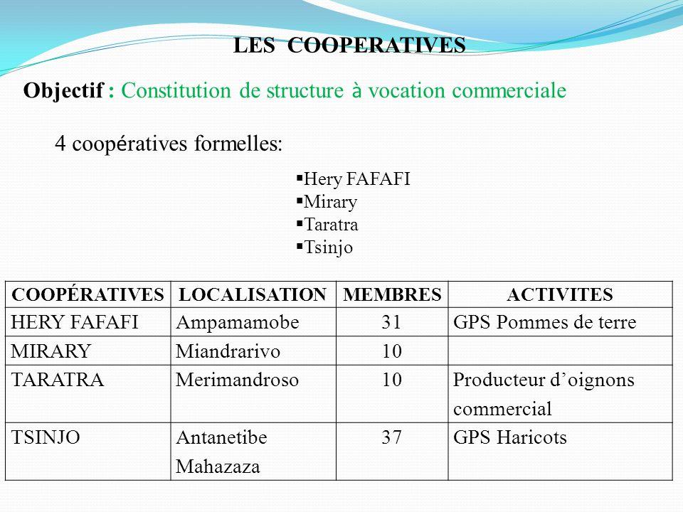 LES COOPERATIVES 4 coop é ratives formelles: Hery FAFAFI Mirary Taratra Tsinjo COOPÉRATIVESLOCALISATIONMEMBRESACTIVITES HERY FAFAFIAmpamamobe31GPS Pom