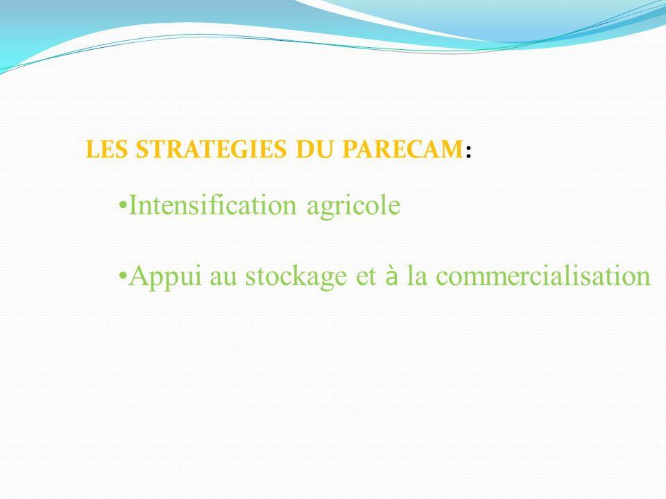 LES STRATEGIES DU PARECAM: Intensification agricole Appui au stockage et à la commercialisation