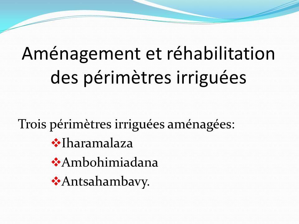 Aménagement et réhabilitation des périmètres irriguées Trois périmètres irriguées aménagées: Iharamalaza Ambohimiadana Antsahambavy.