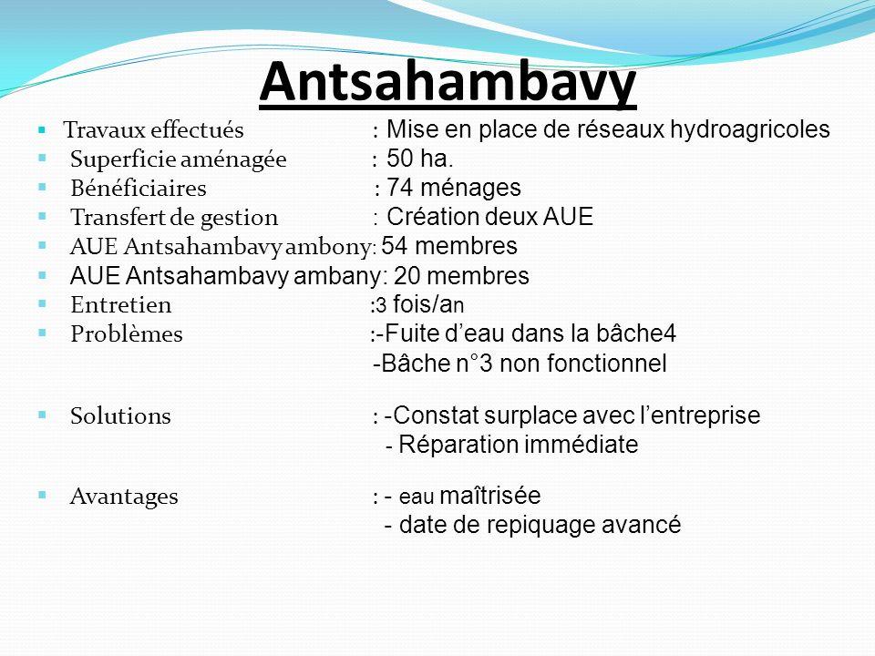 Antsahambavy Travaux effectués : Mise en place de réseaux hydroagricoles Superficie aménagée : 50 ha. Bénéficiaires : 74 ménages Transfert de gestion
