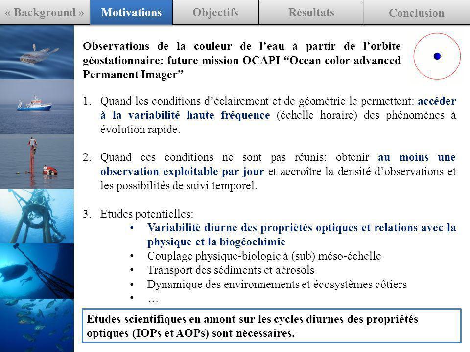 Observations de la couleur de leau à partir de lorbite géostationnaire: future mission OCAPI Ocean color advanced Permanent Imager 1.Quand les conditions déclairement et de géométrie le permettent: accéder à la variabilité haute fréquence (échelle horaire) des phénomènes à évolution rapide.