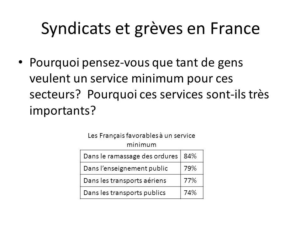 Syndicats et grèves en France Pourquoi pensez-vous que tant de gens veulent un service minimum pour ces secteurs? Pourquoi ces services sont-ils très