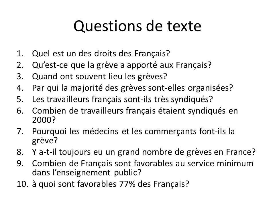 Questions de texte 1.Quel est un des droits des Français? 2.Quest-ce que la grève a apporté aux Français? 3.Quand ont souvent lieu les grèves? 4.Par q