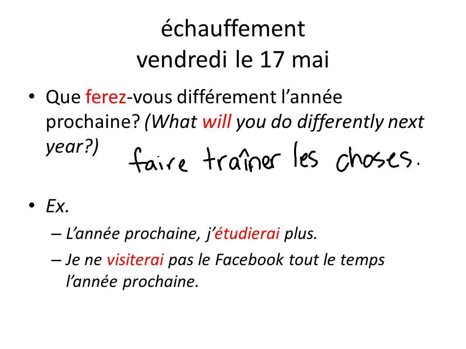 échauffement vendredi le 17 mai Que ferez-vous différement lannée prochaine? (What will you do differently next year?) Ex. – Lannée prochaine, jétudie