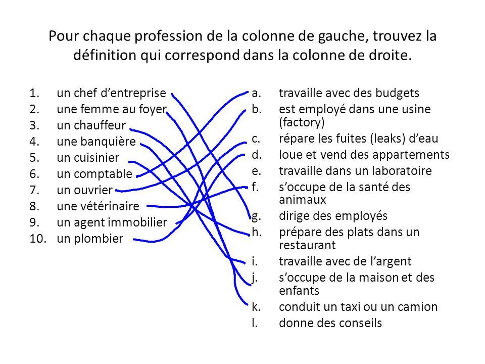 Pour chaque profession de la colonne de gauche, trouvez la définition qui correspond dans la colonne de droite. 1.un chef dentreprise 2.une femme au f