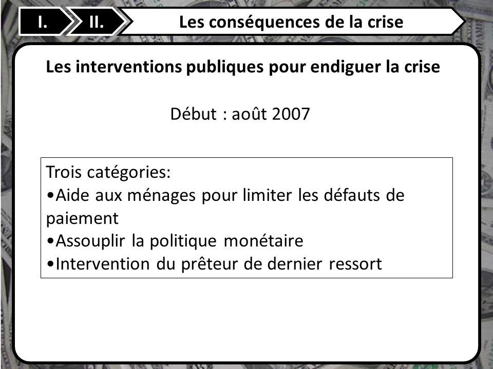 II. Les interventions publiques pour endiguer la crise Trois catégories: Aide aux ménages pour limiter les défauts de paiement Assouplir la politique