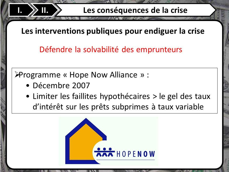 II. Les interventions publiques pour endiguer la crise Programme « Hope Now Alliance » : Décembre 2007 Limiter les faillites hypothécaires > le gel de