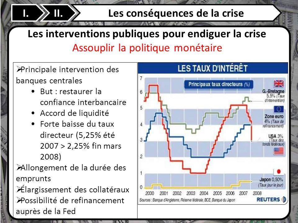 II. Les interventions publiques pour endiguer la crise Principale intervention des banques centrales But : restaurer la confiance interbancaire Accord
