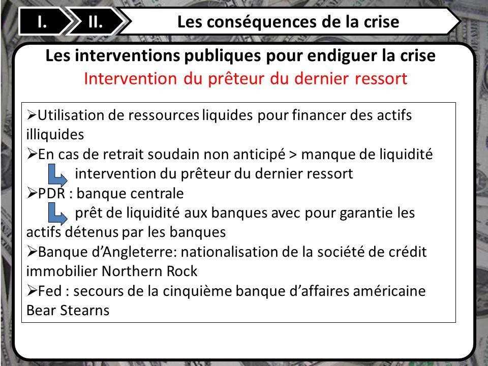 II. Les interventions publiques pour endiguer la crise Utilisation de ressources liquides pour financer des actifs illiquides En cas de retrait soudai