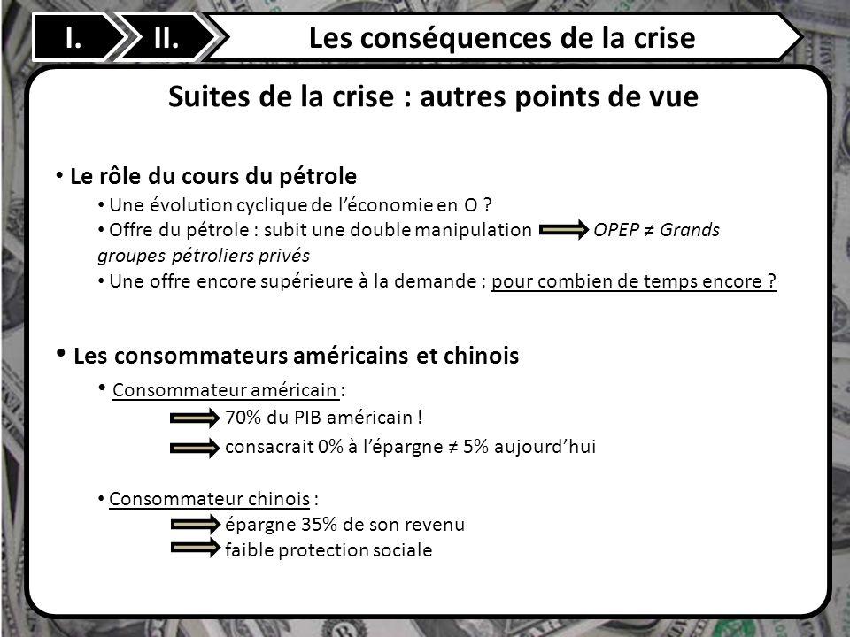 II. Suites de la crise : autres points de vue I.Les conséquences de la crise Le rôle du cours du pétrole Une évolution cyclique de léconomie en O ? Of