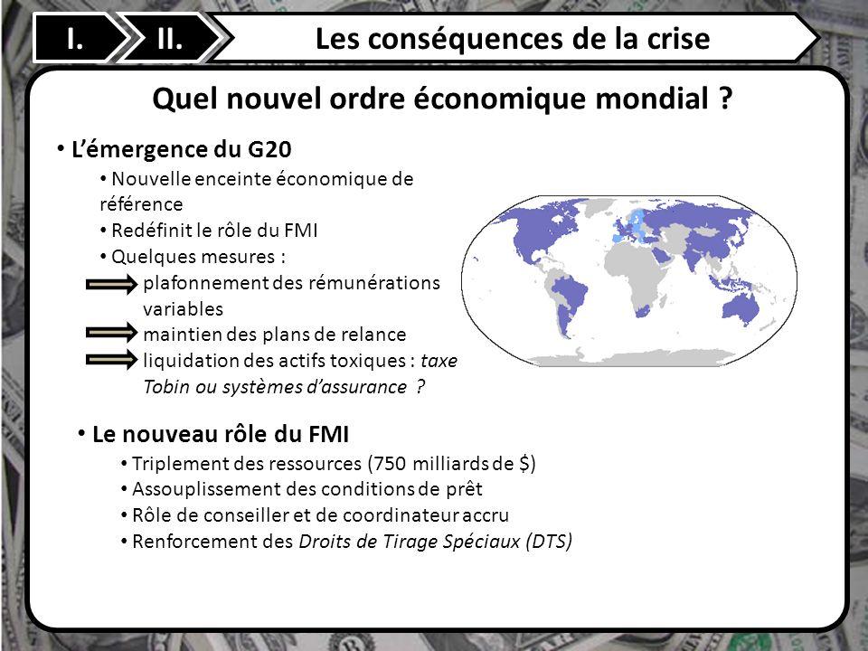 II. Quel nouvel ordre économique mondial ? I.Les conséquences de la crise Lémergence du G20 Nouvelle enceinte économique de référence Redéfinit le rôl