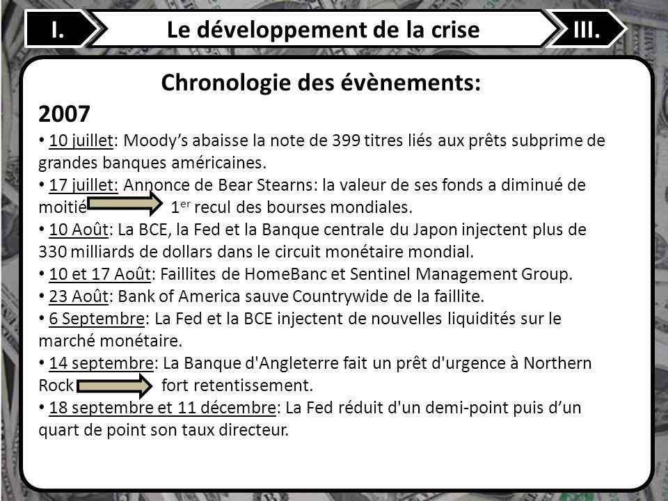 I.Le développement de la criseIII. Chronologie des évènements: 2007 10 juillet: Moodys abaisse la note de 399 titres liés aux prêts subprime de grande