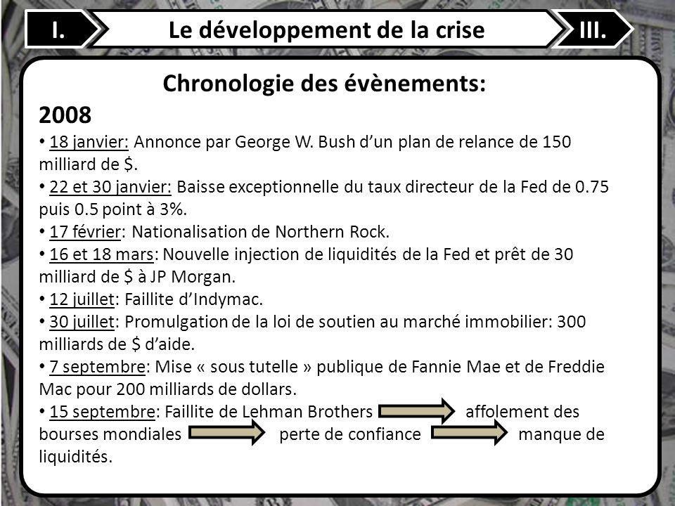 I.Le développement de la criseIII. Chronologie des évènements: 2008 18 janvier: Annonce par George W. Bush dun plan de relance de 150 milliard de $. 2