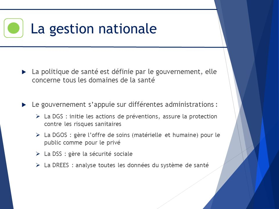 La gestion nationale La politique de santé est définie par le gouvernement, elle concerne tous les domaines de la santé Le gouvernement sappuie sur di