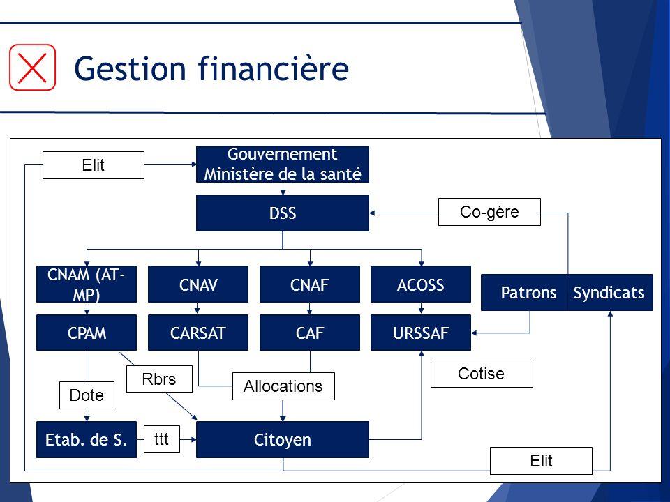 Gestion financière Gouvernement Ministère de la santé DSS CNAM (AT- MP) CNAVCNAFACOSS CPAMCARSATCAFURSSAF Etab. de S.Citoyen Patrons Syndicats Dote tt