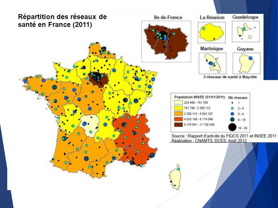 Répartition des réseaux de santé en France (2011)