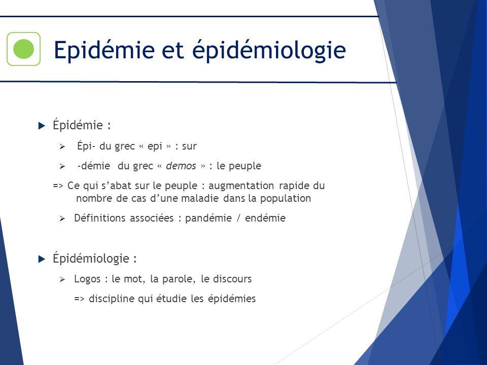 Epidémie et épidémiologie Épidémie : Épi- du grec « epi » : sur -démie du grec « demos » : le peuple => Ce qui sabat sur le peuple : augmentation rapi
