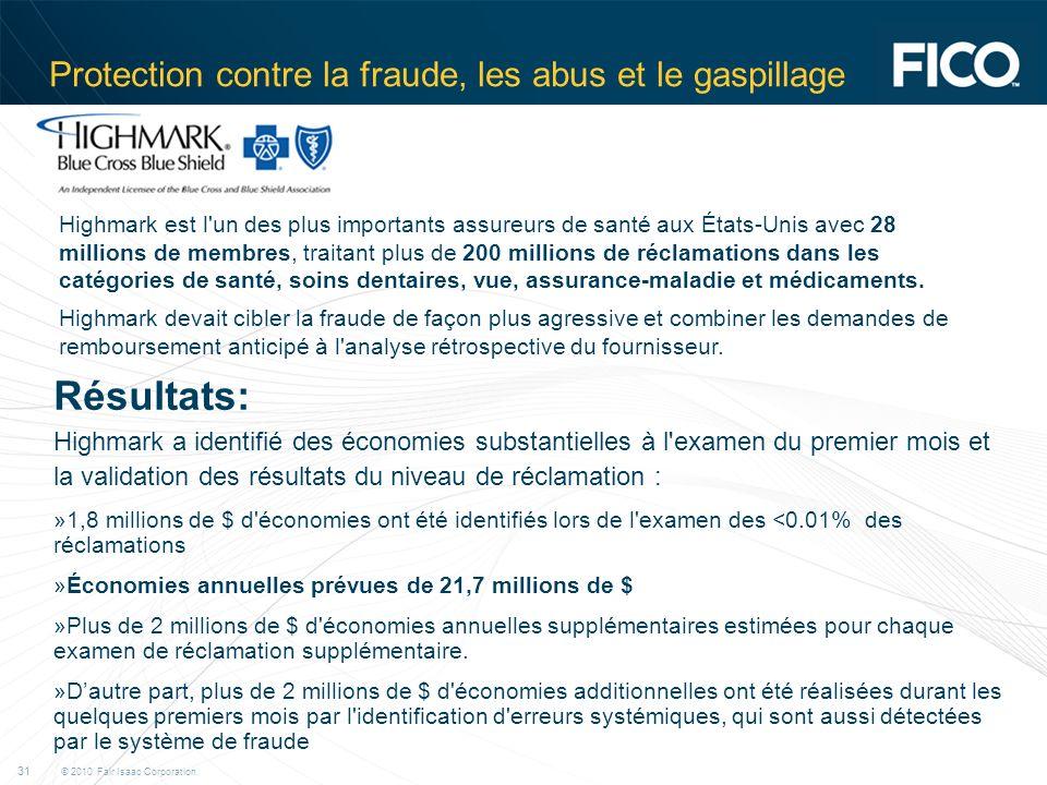 © 2010 Fair Isaac Corporation. 31 Protection contre la fraude, les abus et le gaspillage Highmark est l'un des plus importants assureurs de santé aux