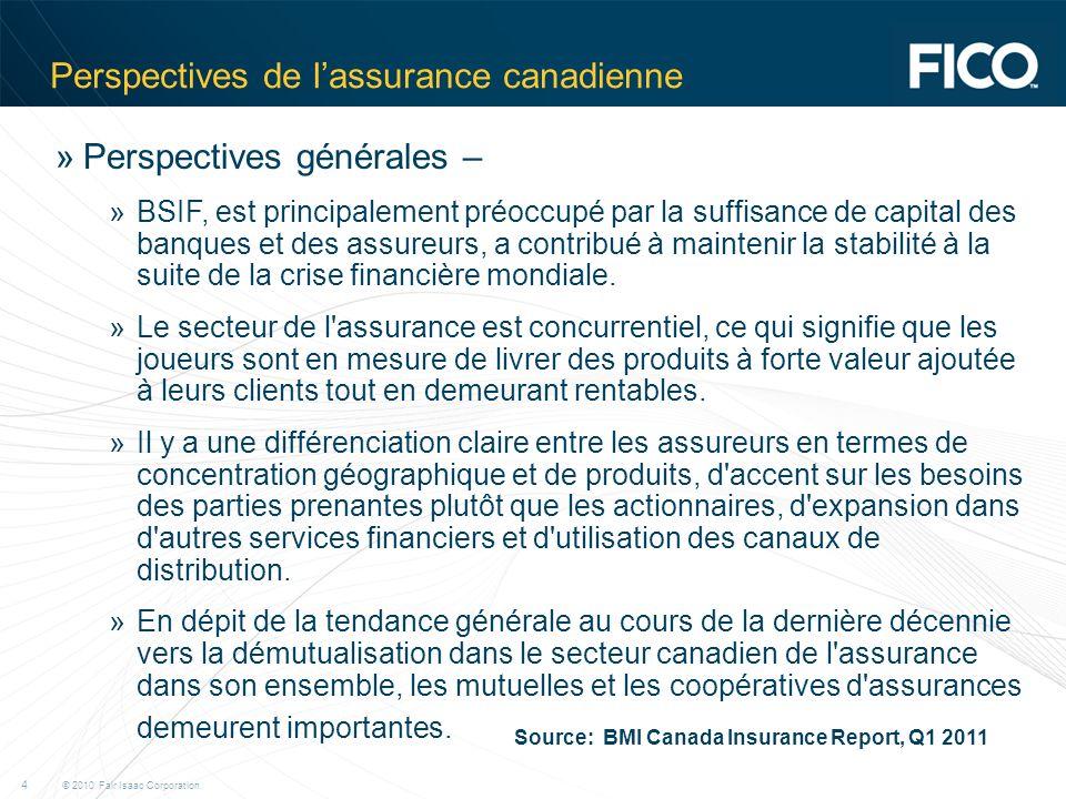 © 2010 Fair Isaac Corporation. 4 Perspectives de lassurance canadienne »Perspectives générales – »BSIF, est principalement préoccupé par la suffisance