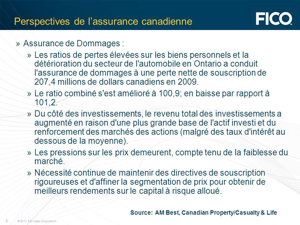 © 2010 Fair Isaac Corporation. 5 Perspectives de lassurance canadienne »Assurance de Dommages : »Les ratios de pertes élevées sur les biens personnels