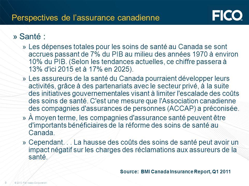 © 2010 Fair Isaac Corporation. 9 Perspectives de lassurance canadienne »Santé : »Les dépenses totales pour les soins de santé au Canada se sont accrue
