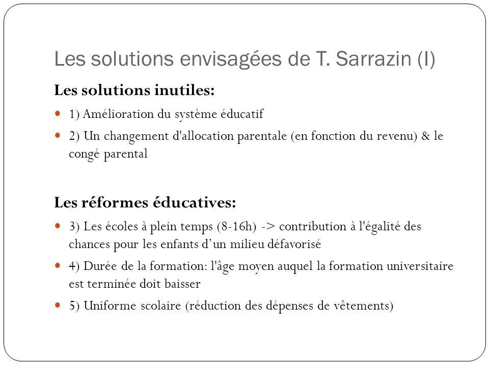 Les solutions envisagées de T. Sarrazin (I) Les solutions inutiles: 1) Amélioration du système éducatif 2) Un changement d'allocation parentale (en fo