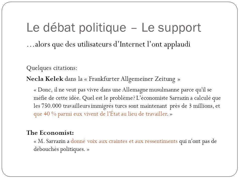 Le débat politique – Le support …alors que des utilisateurs dInternet lont applaudi Quelques citations: Necla Kelek dans la « Frankfurter Allgemeiner