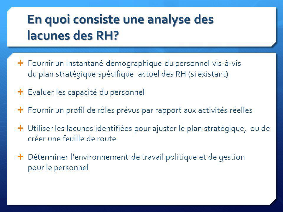 En quoi consiste une analyse des lacunes des RH? Fournir un instantané démographique du personnel vis-à-vis du plan stratégique spécifique actuel des