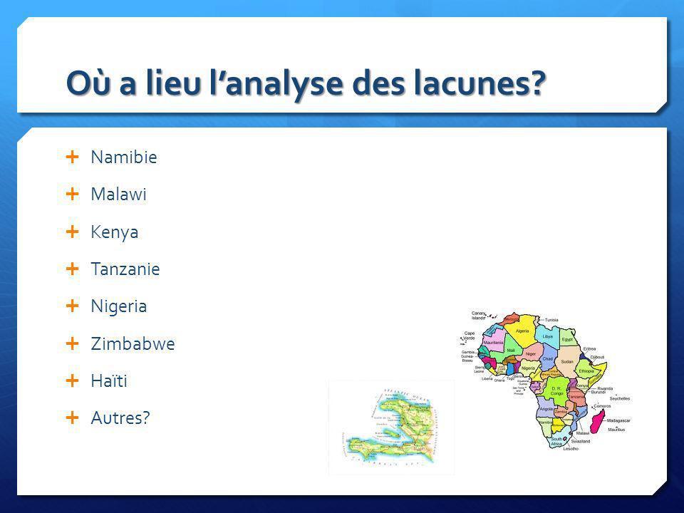 Où a lieu lanalyse des lacunes? Namibie Malawi Kenya Tanzanie Nigeria Zimbabwe Haïti Autres?