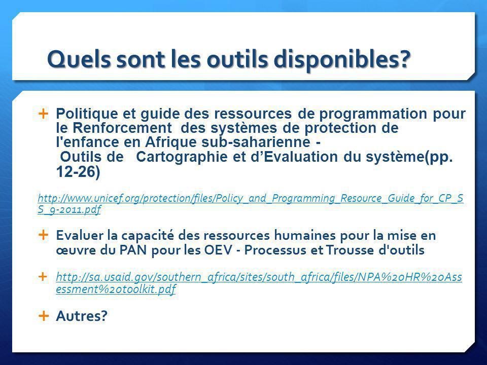 Quels sont les outils disponibles? Politique et guide des ressources de programmation pour le Renforcement des systèmes de protection de l'enfance en