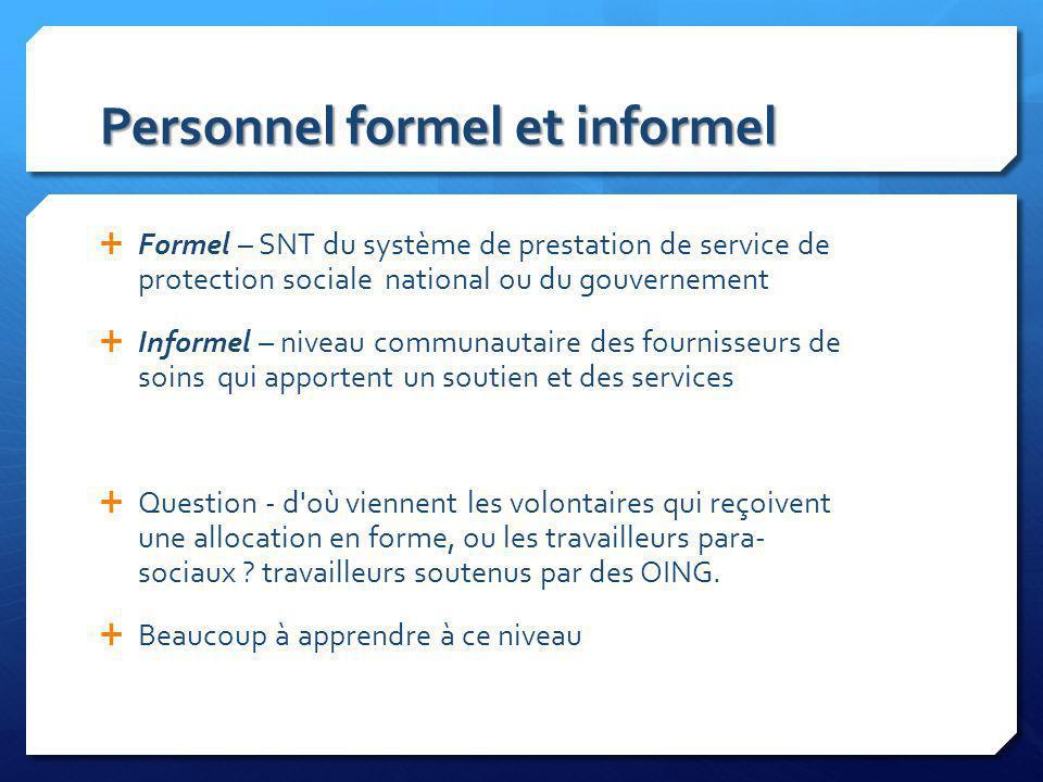 Personnel formel et informel Formel – SNT du système de prestation de service de protection sociale national ou du gouvernement Informel – niveau comm