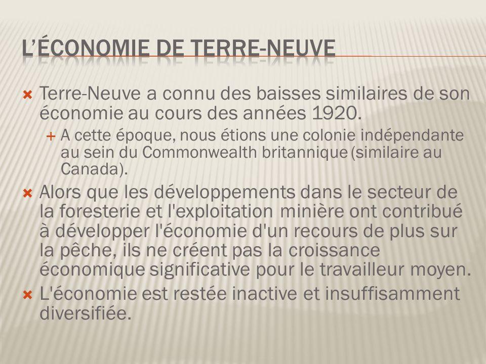 Terre-Neuve a connu des baisses similaires de son économie au cours des années 1920.