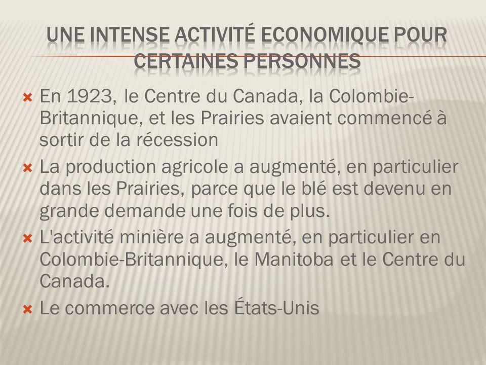 En 1923, le Centre du Canada, la Colombie- Britannique, et les Prairies avaient commencé à sortir de la récession La production agricole a augmenté, en particulier dans les Prairies, parce que le blé est devenu en grande demande une fois de plus.