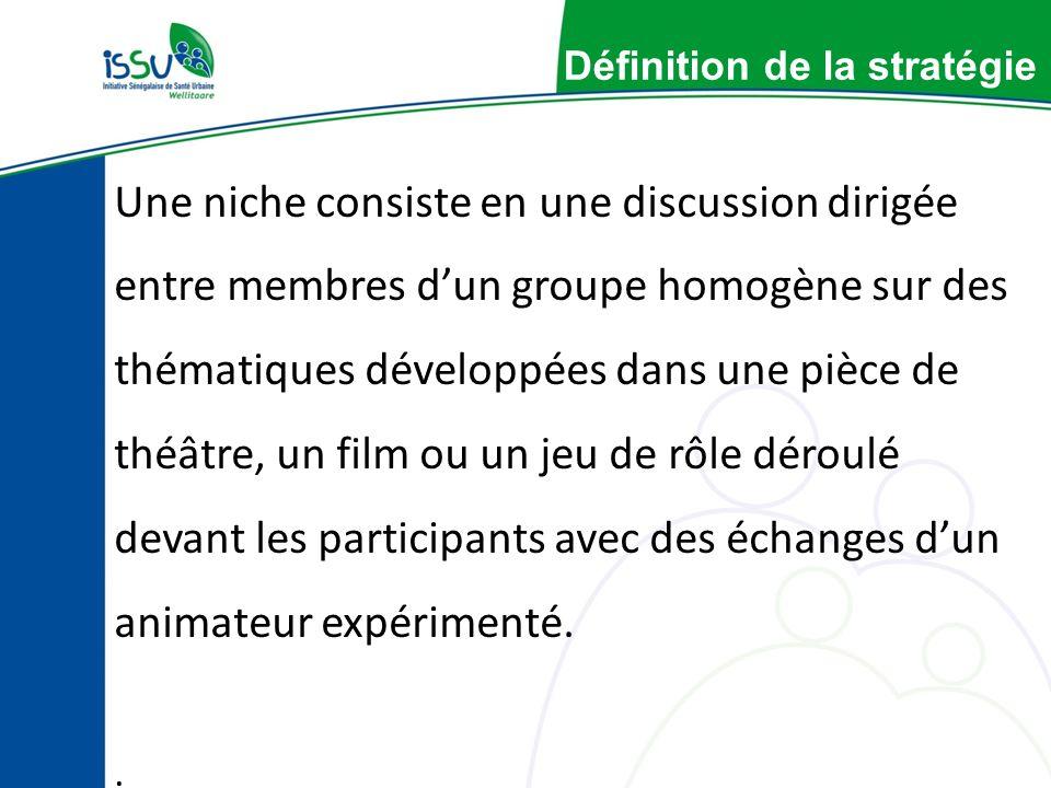 Définition de la stratégie Une niche consiste en une discussion dirigée entre membres dun groupe homogène sur des thématiques développées dans une pièce de théâtre, un film ou un jeu de rôle déroulé devant les participants avec des échanges dun animateur expérimenté..
