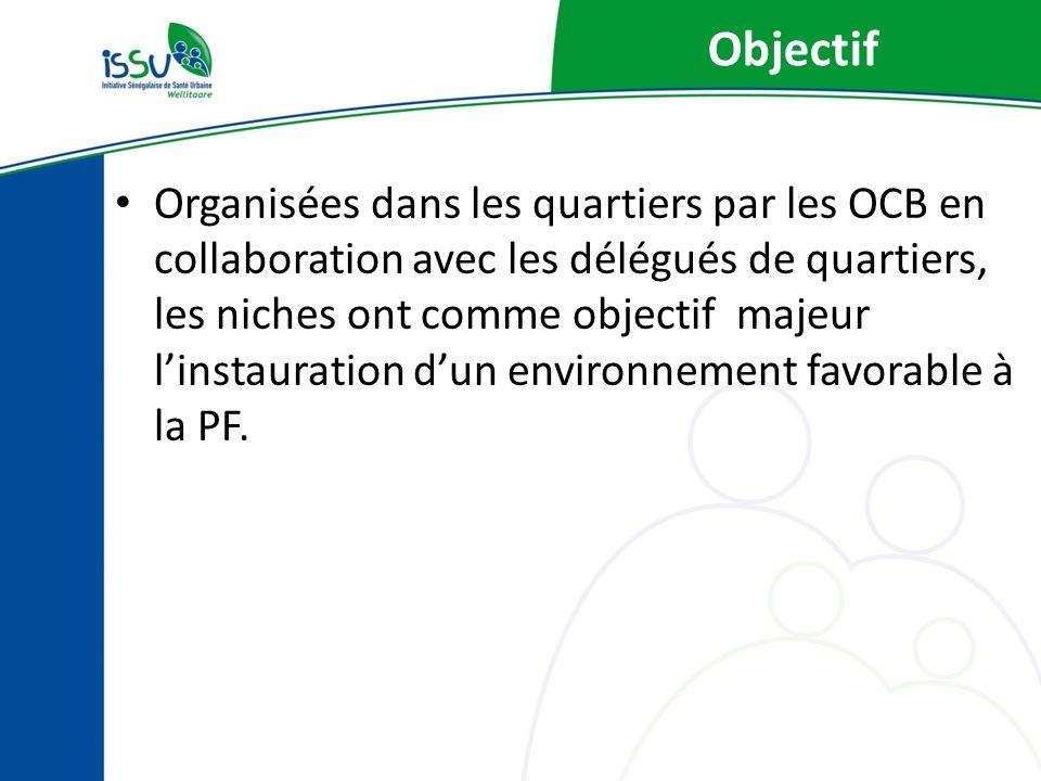 Objectif Organisées dans les quartiers par les OCB en collaboration avec les délégués de quartiers, les niches ont comme objectif majeur linstauration dun environnement favorable à la PF.