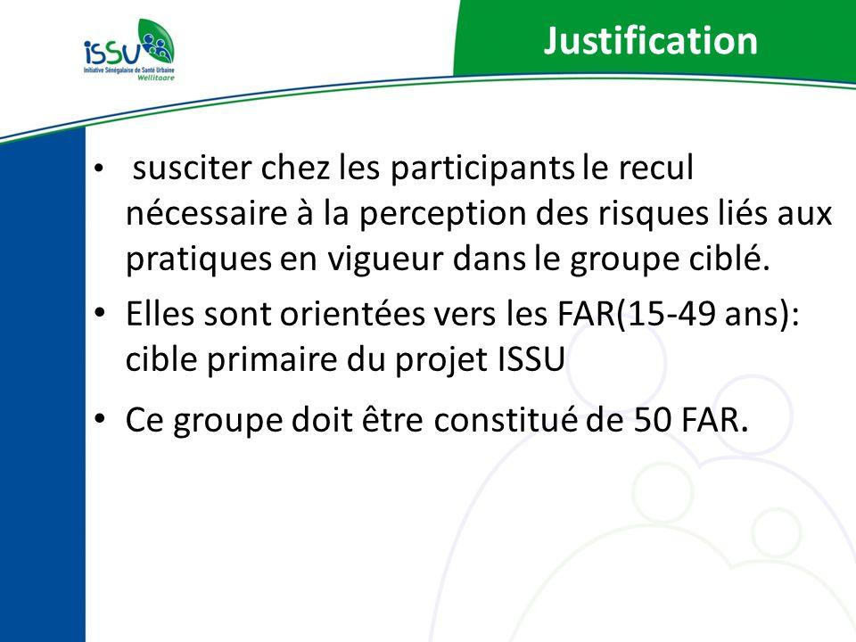 Justification susciter chez les participants le recul nécessaire à la perception des risques liés aux pratiques en vigueur dans le groupe ciblé.
