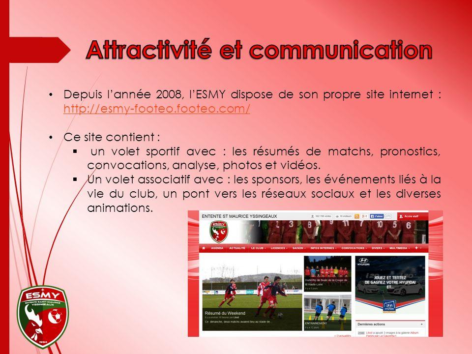 Depuis lannée 2008, lESMY dispose de son propre site internet : http://esmy-footeo.footeo.com/ http://esmy-footeo.footeo.com/ Ce site contient : un volet sportif avec : les résumés de matchs, pronostics, convocations, analyse, photos et vidéos.