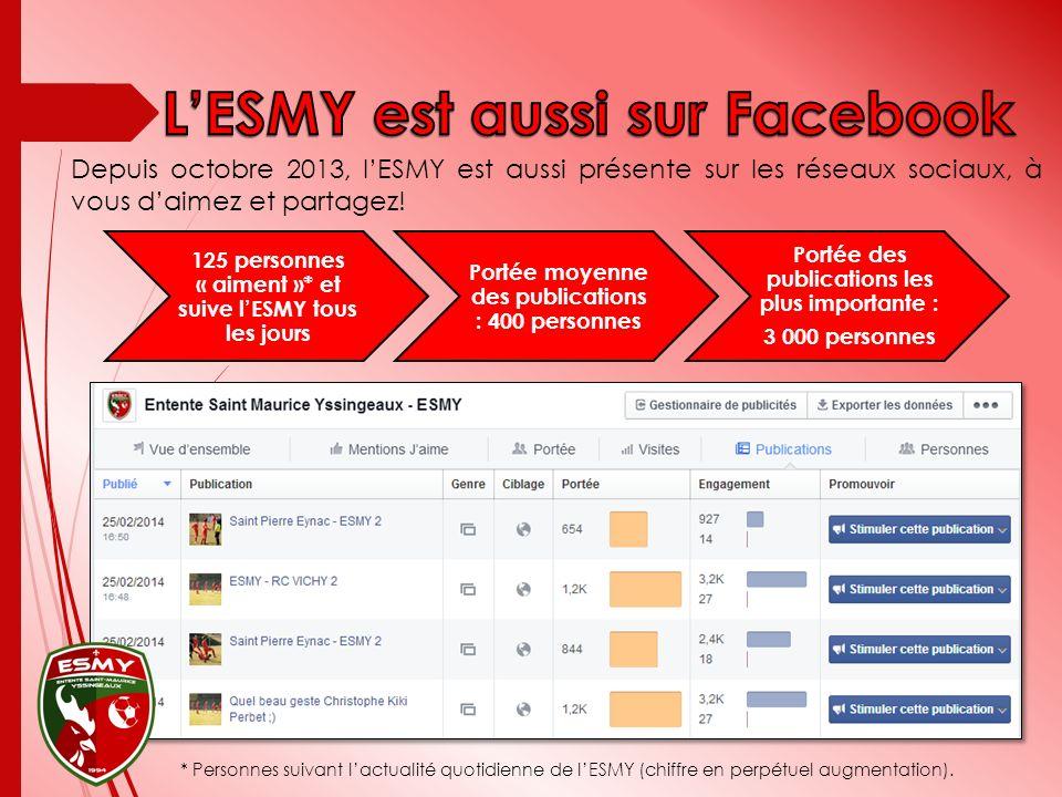 Depuis octobre 2013, lESMY est aussi présente sur les réseaux sociaux, à vous daimez et partagez.
