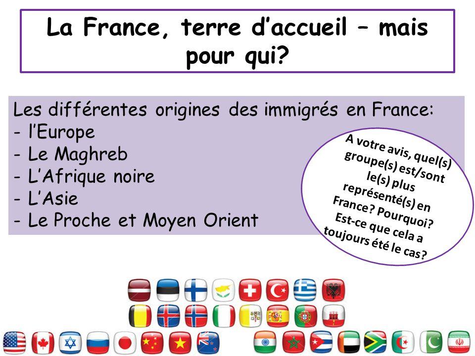 La France, terre daccueil – mais pour qui? Les différentes origines des immigrés en France: -lEurope -Le Maghreb -LAfrique noire -LAsie -Le Proche et