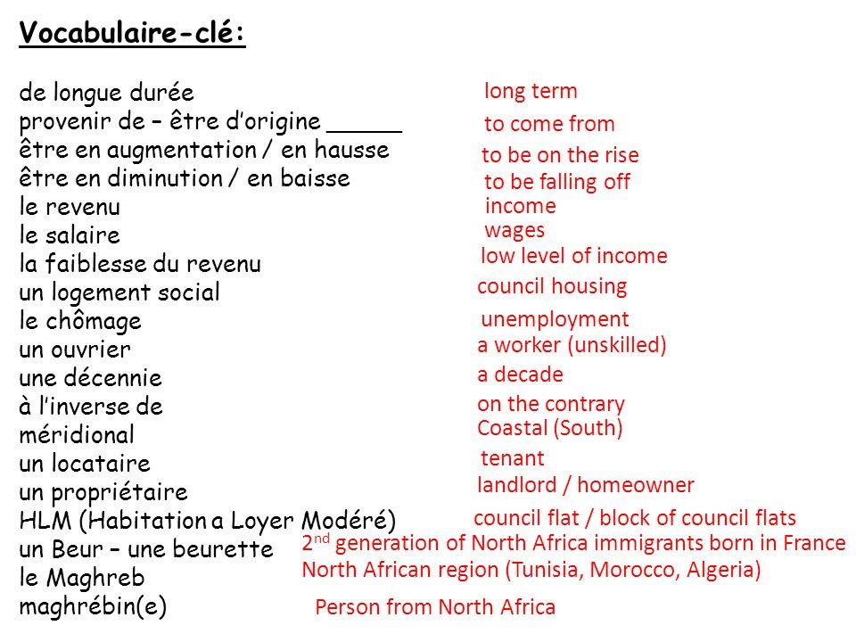 Vocabulaire-clé: de longue durée provenir de – être dorigine _____ être en augmentation / en hausse être en diminution / en baisse le revenu le salair