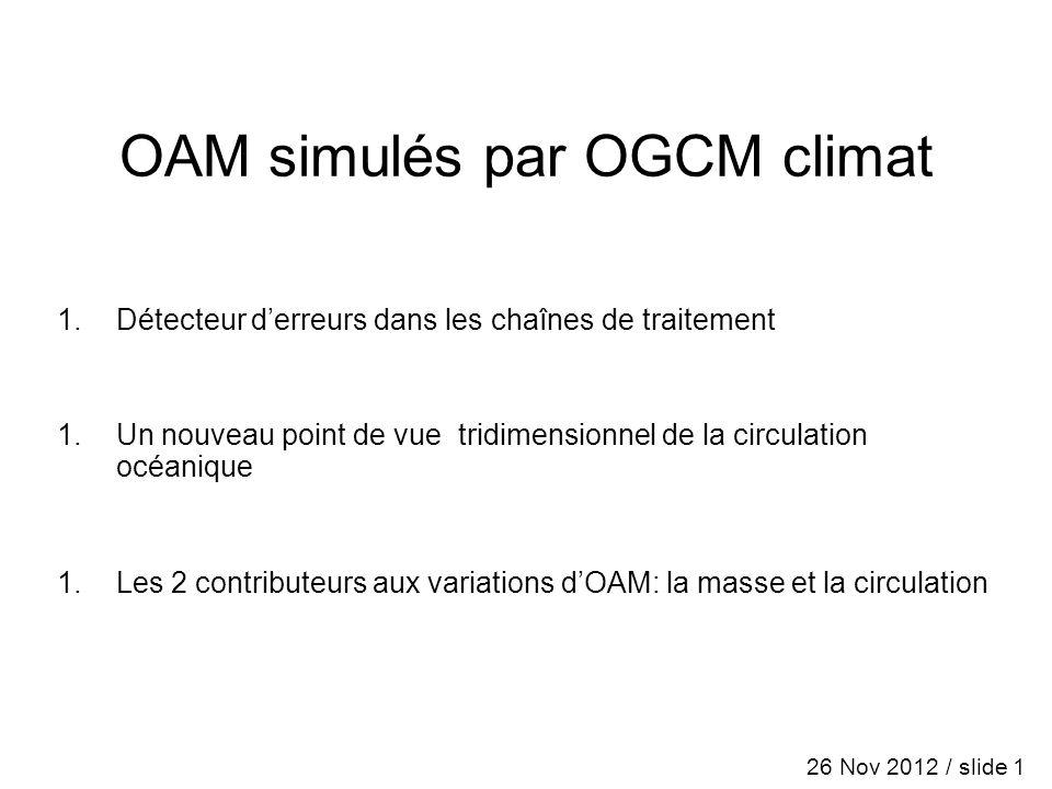 OAM simulés par OGCM climat 1.Détecteur derreurs dans les chaînes de traitement 1.Un nouveau point de vue tridimensionnel de la circulation océanique 1.Les 2 contributeurs aux variations dOAM: la masse et la circulation 26 Nov 2012 / slide 1