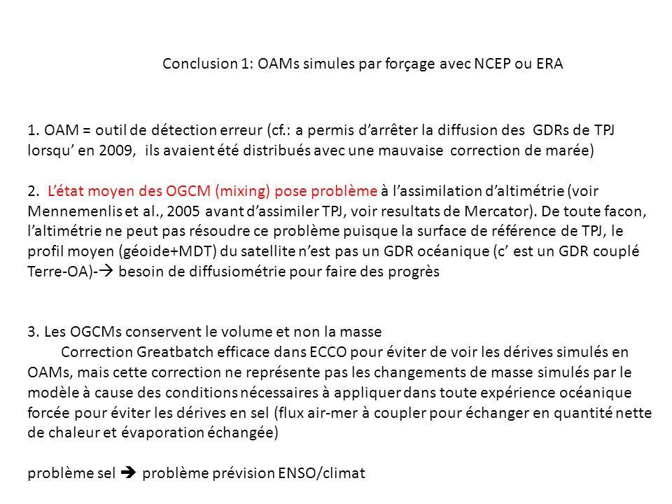 Conclusion 1: OAMs simules par forçage avec NCEP ou ERA 1.