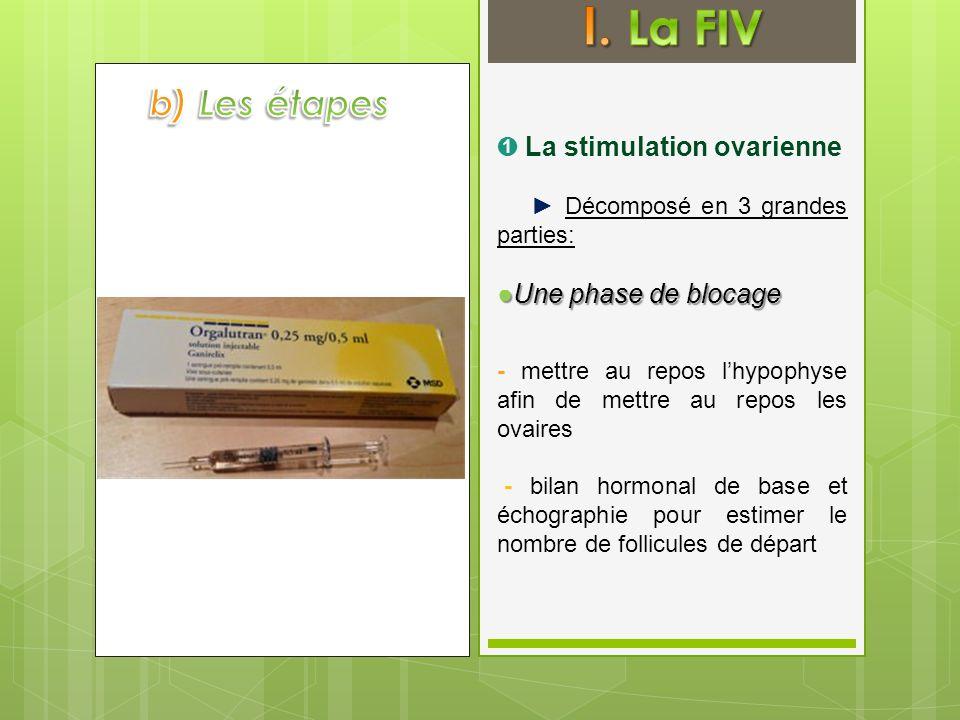 Décomposé en 3 grandes parties: Une phase de blocageUne phase de blocage - mettre au repos lhypophyse afin de mettre au repos les ovaires - bilan horm