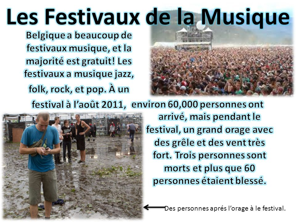 Des personnes aprés lorage à le festival.