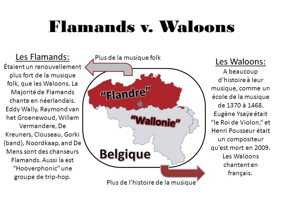 La Bibliographie Http://houbi.com/belpop/timeline.htm http://en.wikipedia.org/wiki/Music_of_Belgium http://top40-charts.com/chart.php?cid=7 http://en.wikipedia.org/wiki/List_of_best-selling_Belgian_artists http://en.wikipedia.org/wiki/Lasgo http://en.wikipedia.org/wiki/K3_(band) http://en.wikipedia.org/wiki/Helmut_Lotti http://www.youtube.com/watch?v=u4OVhd7HLI8 http://www.cbsnews.com/stories/2011/08/18/501364/main20094213.shtml http://en.wikipedia.org/wiki/Flanders http://en.wikipedia.org/wiki/Wallonia#Music