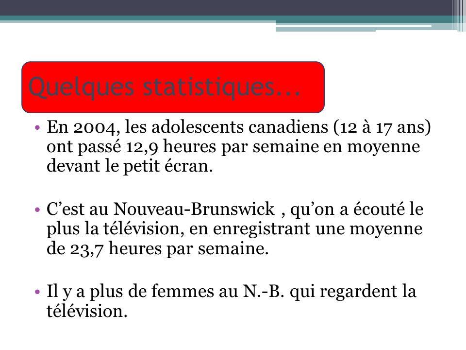 Quelques statistiques... En 2004, les adolescents canadiens (12 à 17 ans) ont passé 12,9 heures par semaine en moyenne devant le petit écran. Cest au