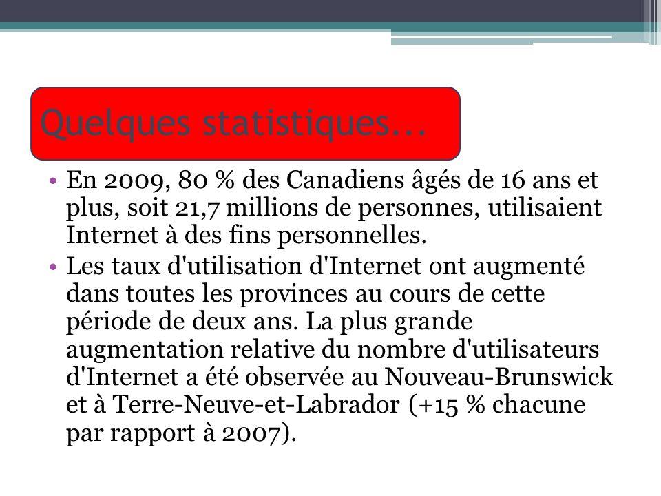Quelques statistiques... En 2009, 80 % des Canadiens âgés de 16 ans et plus, soit 21,7 millions de personnes, utilisaient Internet à des fins personne